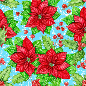 Poinsettia and holly berry on blue