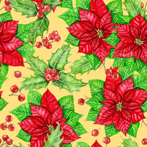 Poinsettia and holly berry on yellow