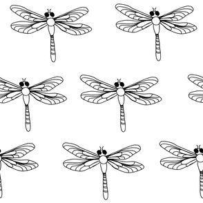 Dragonfly Black and White Modern Home Decor