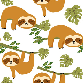 Cute Baby Sloths in Tropical Jungle on White