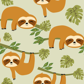 Cute Baby Sloths in Tropical Jungle on Green