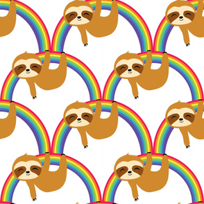 Cute Sloths on Rainbow
