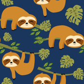 Cute Baby Sloths on Dark Blue