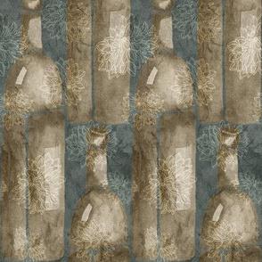19-13t Abstract Wine Bottle slate blue green