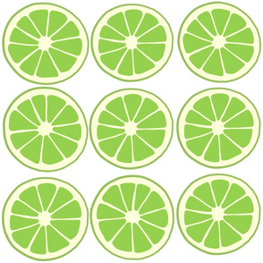 Limes, lime slices, citrus fruit