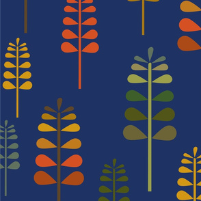 Autumn Herbalism, Fall Grass, Plants, Trees on Blue