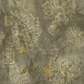 19-13q Batik Taupe Blender Floral Solid Gray Brown