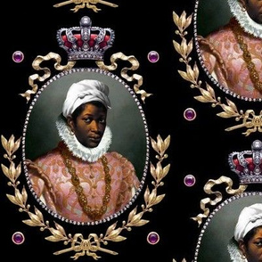 1 victorian baroque renaissance portraits tudor black woman lady african descent POC people of color WOC headdress head wrap bows gold wreaths crown leaves laurel purple gems jewels amethyst ornate gilt Queen Elizabeth 1 inspired princess  medallion frame