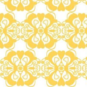 Doodle Dijon / Yellow on White