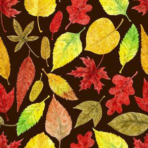Autumn leaves watercolor dark