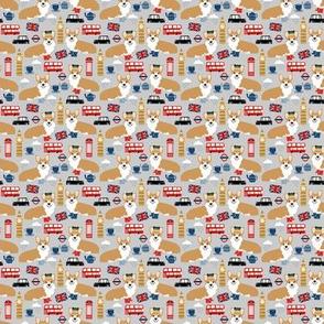 TINY - corgis in london - british london england union jack fabric corgi queen fabric