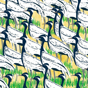 Flock of Demoiselle Cranes- Large scale