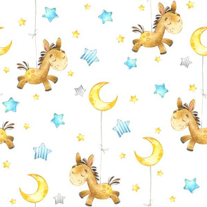 Cute Donkey w/ Stars & Moon - Baby Design