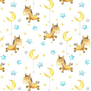 Cute Donkey w/ Stars & Moon - Baby Design, SMALLER