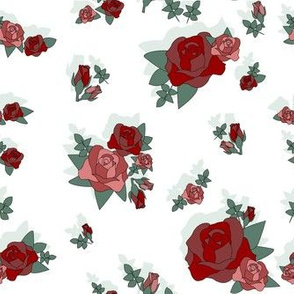 Roses in White with Shadow