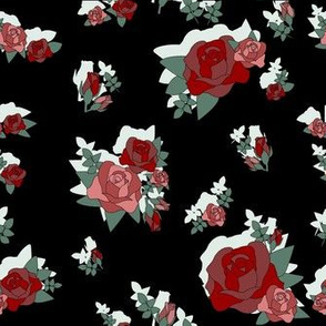 Roses in Black with Shadow