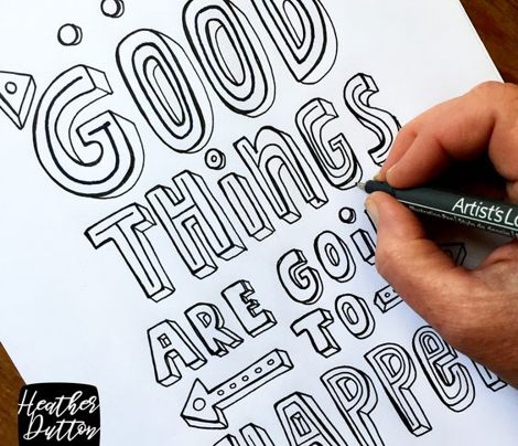 Good Things  - Quote Tea Towel Typography Blue