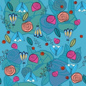 pink and blue floral