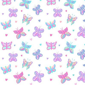 Butterflies with Hearts Pastel