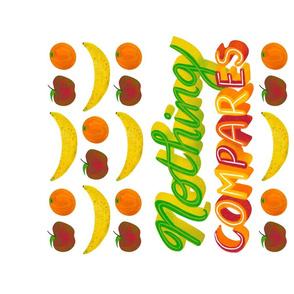 Handletter Tea Towel  Nothing Compares Apples Oranges Bananas