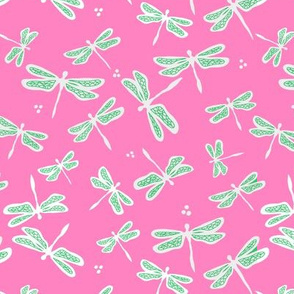 Dandy Dragonflies on Dark Pink