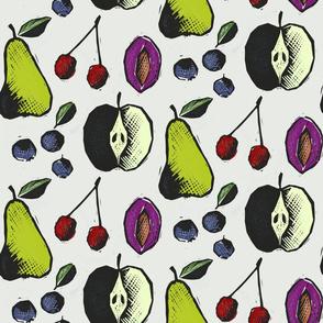 Large Linocut Fruit