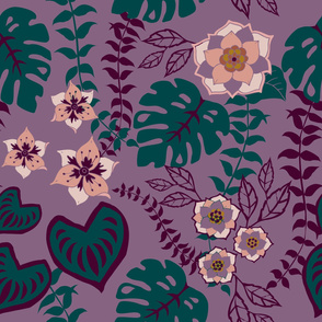 Tropical Leaves, Flowers, and vines Quetzal Green on Purple
