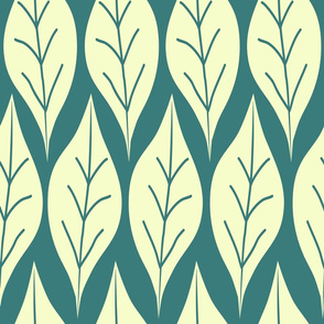Leaves on blue green abstract