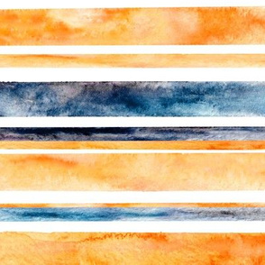 Watercolor Stripes - Orange & Navy (Large Horizontal Version)