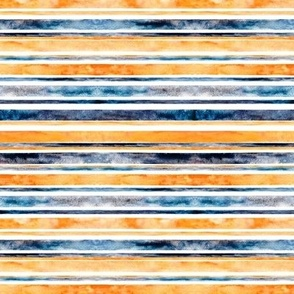 Watercolor Stripes - Orange & Navy (Small Horizontal Version)