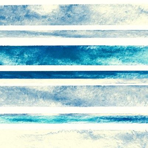 Watercolor Stripes - Blue (Large Horizontal Version)