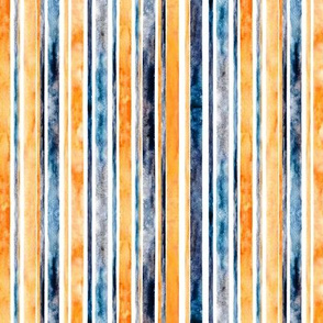 Watercolor Stripes - Orange & Navy  (Small Vertical Version)