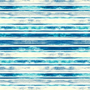 Watercolor Stripes - Blue (Small Horizontal Version)