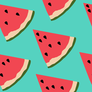 Watermelon Slices on Blue