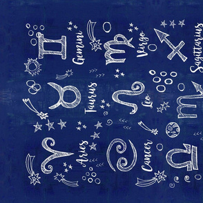 Zodiac Signs on a midnight blue sky tea towel