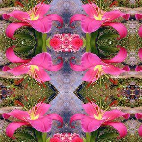 Pink Princess Lily in Spring - mirror, large