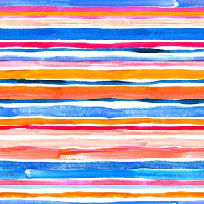 Hand Painted Gouache Beach Chair Stripes Horizontal