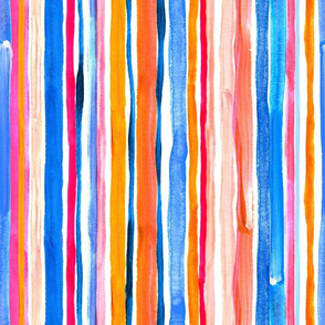 Hand Painted Gouache Beach Chair Stripes Vertical