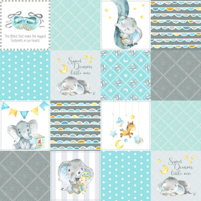 Elephant Quilt Fabric – Baby Boy Patchwork Cheater Quilt Blocks (blue, mint, gray) AD