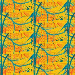 yellow orange aqua and peacock