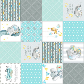 Elephant Quilt Fabric – Baby Boy Patchwork Cheater Quilt Blocks (blue, mint, gray) AD rotated
