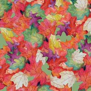 Falling Leaves-Green Background