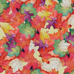 Falling Leaves-Yellow Backg