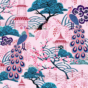 Pink Peacock Chinoiserie - Pink