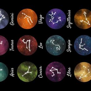 Zodiac constellations tea towel