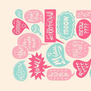 Do You Speak Cat? Tea Towel in Pink & Aqua