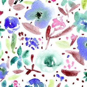 Bloom in Paris • blue and burgundy • watercolor florals