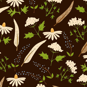 Brown botanical pattern