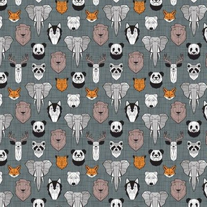 Tiny scale // Friendly Geometric Animals // green grey linen texture background black and white orange brown and grey deers bears foxes wolves elephants raccoons lions owls and pandas