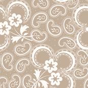 Heartland Rose Paisley: Light Brown & Cream Neutral Floral Paisley